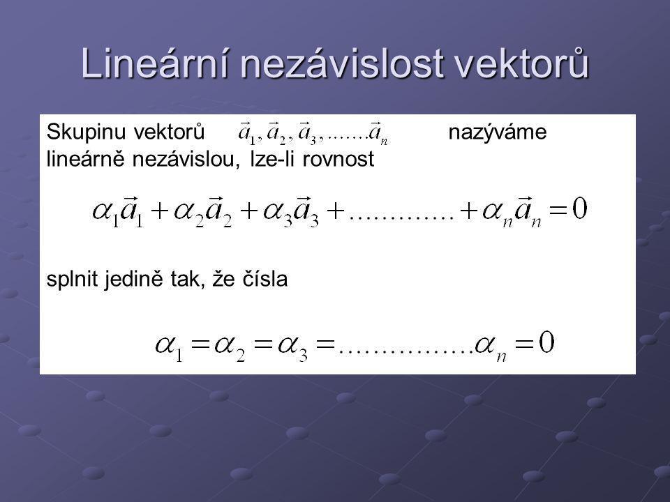 V rovině jsou dva vektory lineárně nezávislé, když nejsou rovnoběžné.