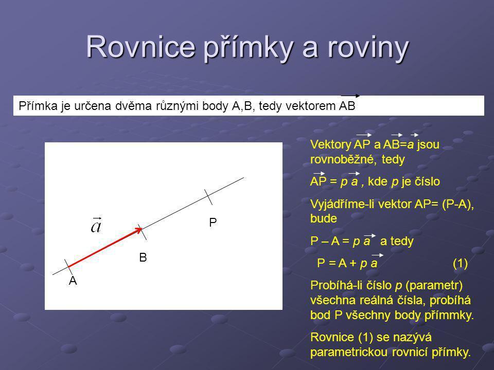 Vyjádření rovnice přímky v souřadnicích Označíme souřadnice bodu A= [A x, A y, A z ], a souřadnice vektoru a = (a x, a y, a z ), bude