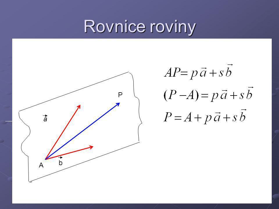 Rovnice roviny v souřadnicích Zde x, y, z jsou souřadnice bodu P Těmto rovnicím říkáme parametrické rovnice roviny.