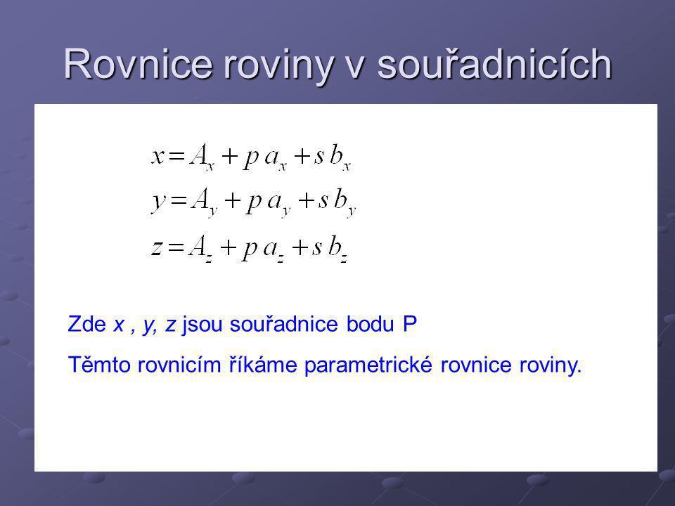 Příklad Určete parametrické rovnice roviny určené body Určíme vektory a, b Hledaná parametrické rovnice roviny budou: