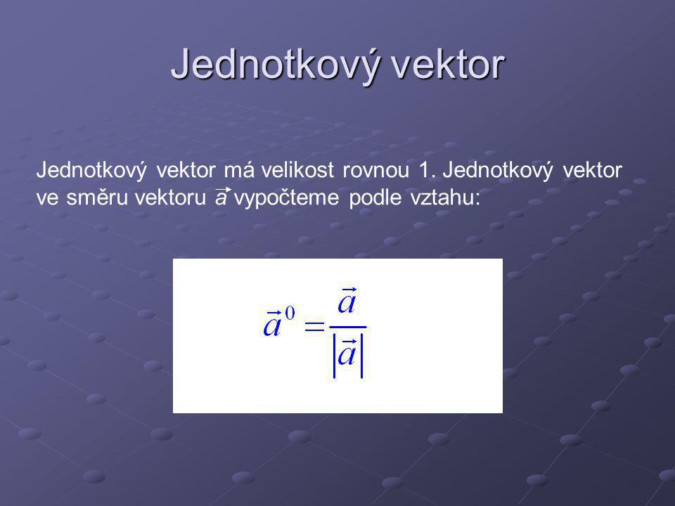 Jednotkové vektory ležící ve směru os x, y, z označujeme Libovolný vektor můžeme rozložit v součet tří vektorů ležících ve směrech souřadnicových os.