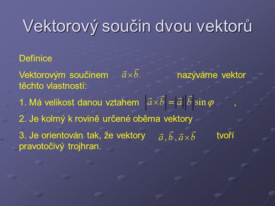 Vektorový součin dvou vektorů Definice Vektorovým součinem nazýváme vektor těchto vlastností: 1. Má velikost danou vztahem, 2. Je kolmý k rovině určen