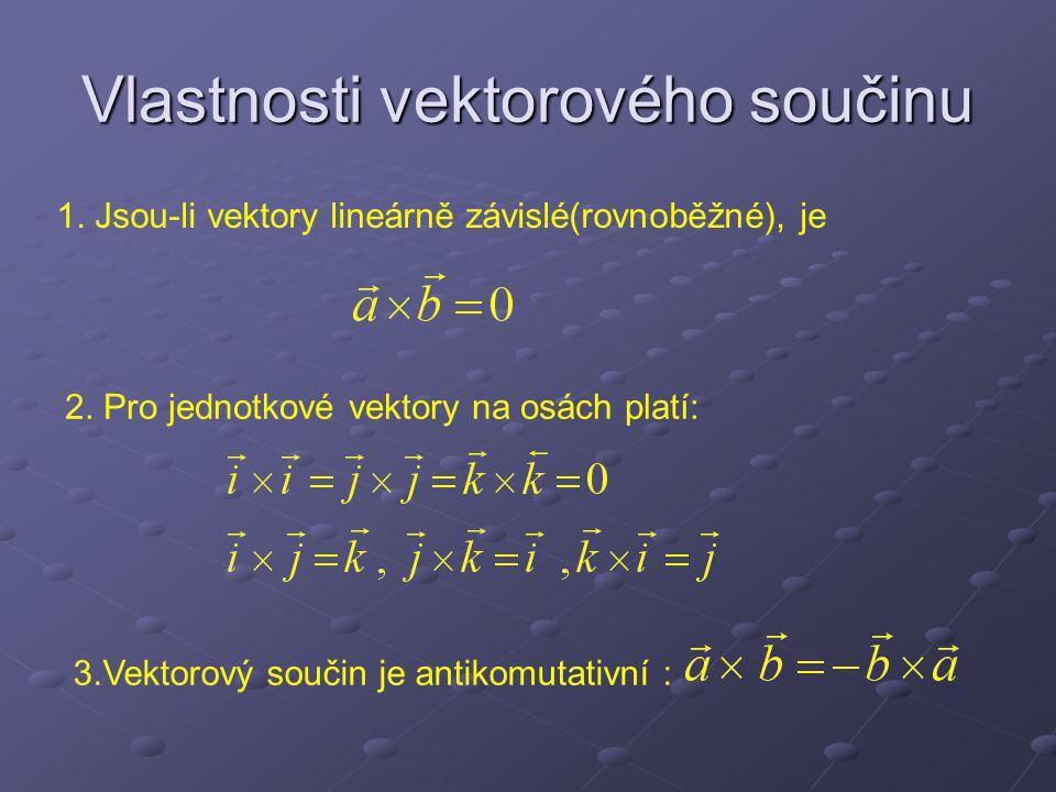 Vyjádření vektorového součinu v souřadnicích Vyjádření pomocí determinantu: