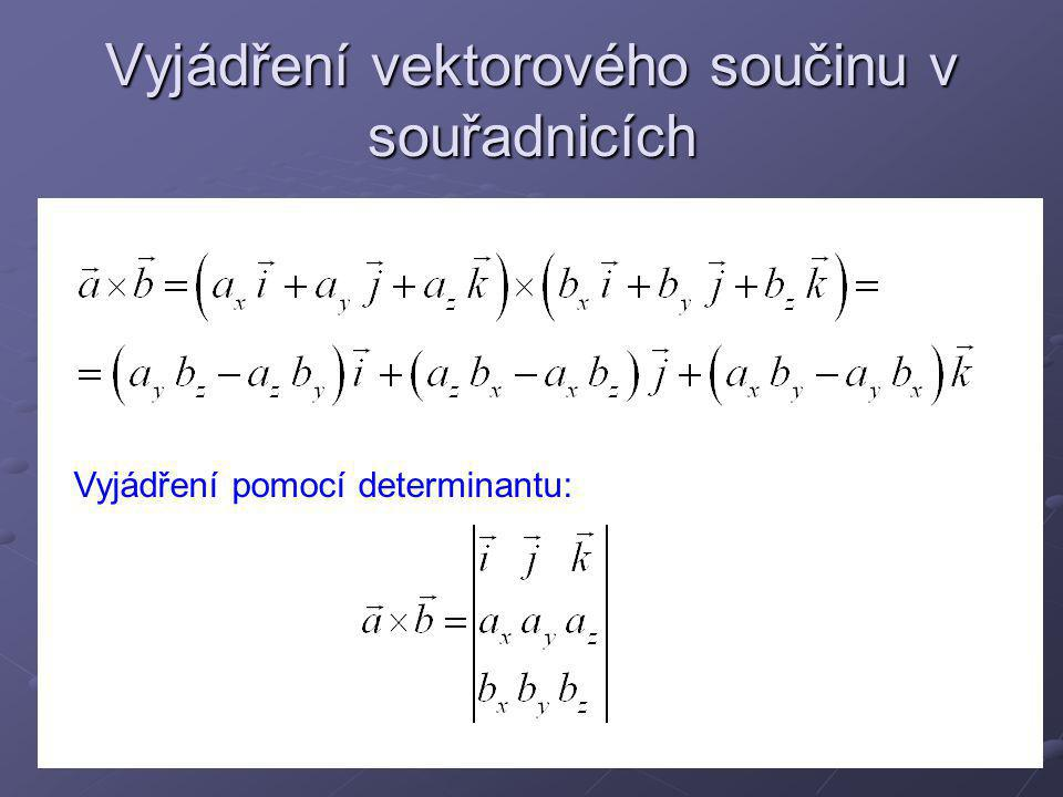 Užití vektorového součinu Rovnice přímky O