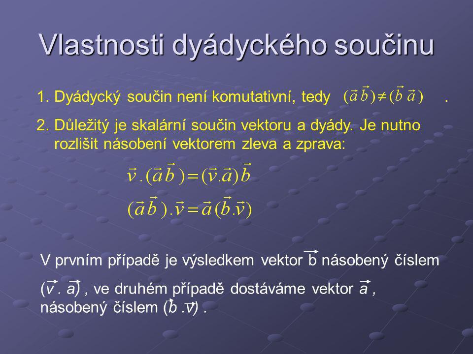 Složitější součiny vektorů 1.Součin (a.b ) c je vektor rovnoběžný s vektorem a.