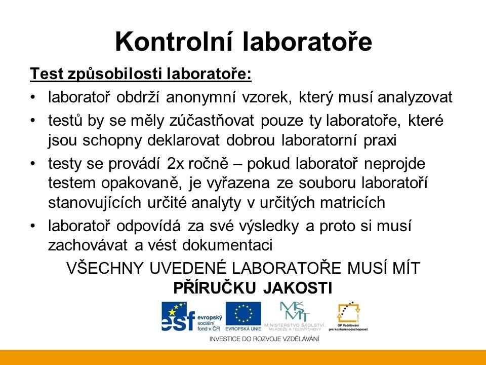 Kontrolní laboratoře Test způsobilosti laboratoře: laboratoř obdrží anonymní vzorek, který musí analyzovat testů by se měly zúčastňovat pouze ty labor