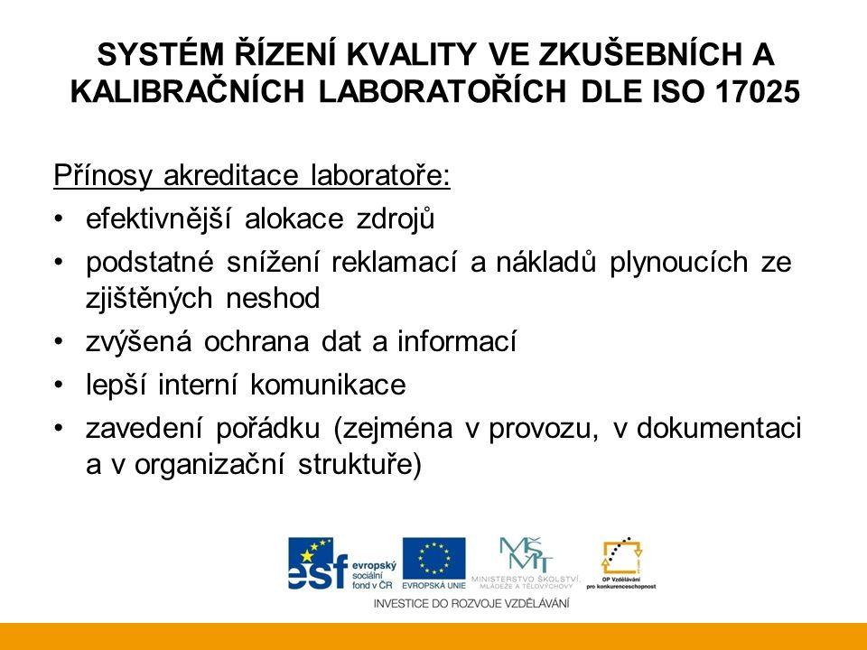 SYSTÉM ŘÍZENÍ KVALITY VE ZKUŠEBNÍCH A KALIBRAČNÍCH LABORATOŘÍCH DLE ISO 17025 Přínosy akreditace laboratoře: efektivnější alokace zdrojů podstatné sní