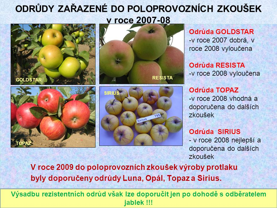 ODRŮDY ZAŘAZENÉ DO POLOPROVOZNÍCH ZKOUŠEK v roce 2007-08 V roce 2009 do poloprovozních zkoušek výroby protlaku byly doporučeny odrůdy Luna, Opál, Topa