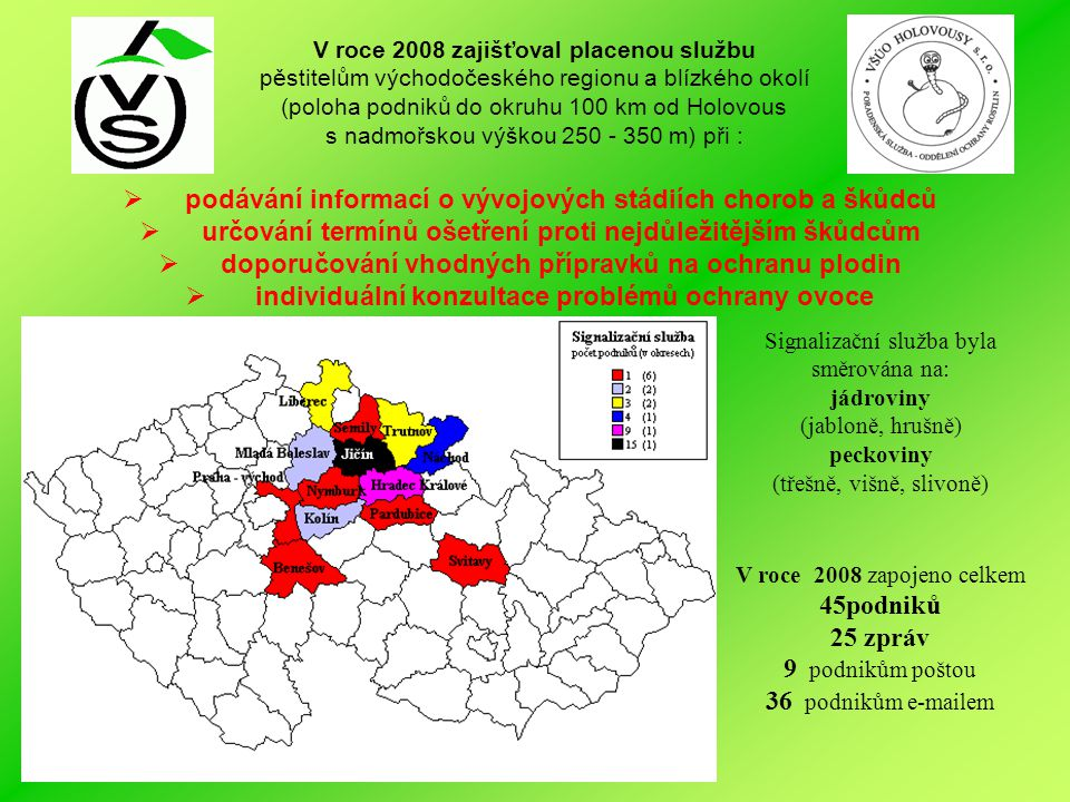 V roce 2008 zajišťoval placenou službu pěstitelům východočeského regionu a blízkého okolí (poloha podniků do okruhu 100 km od Holovous s nadmořskou vý