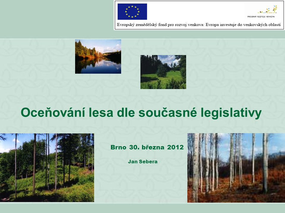 Oceňování lesa dle současné legislativy Brno 30. března 2012 Jan Sebera