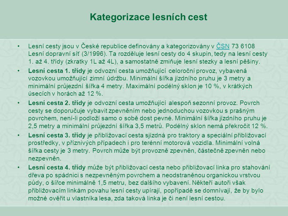 Kategorizace lesních cest Lesní cesty jsou v České republice definovány a kategorizovány v ČSN 73 6108 Lesní dopravní síť (3/1996). Ta rozděluje lesní