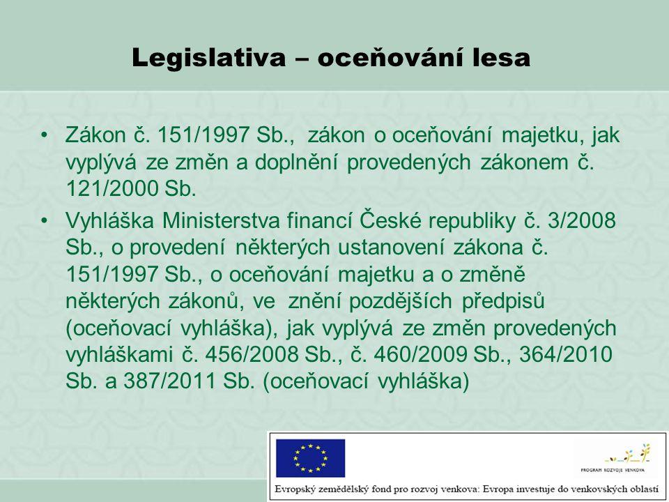 Legislativa – oceňování lesa Zákon č. 151/1997 Sb., zákon o oceňování majetku, jak vyplývá ze změn a doplnění provedených zákonem č. 121/2000 Sb. Vyhl