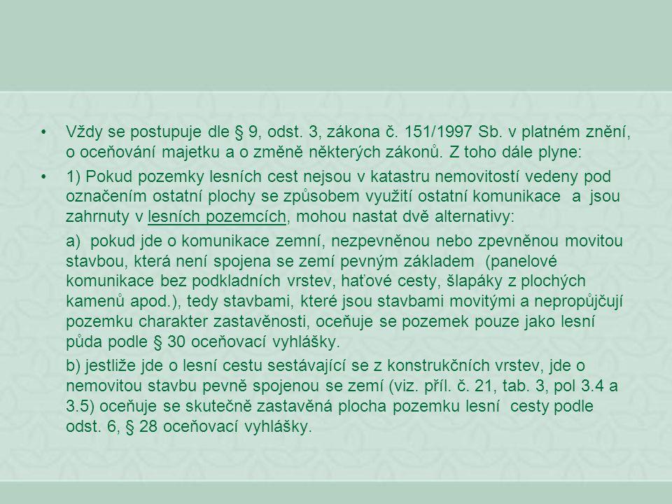 Vždy se postupuje dle § 9, odst. 3, zákona č. 151/1997 Sb. v platném znění, o oceňování majetku a o změně některých zákonů. Z toho dále plyne: 1) Poku