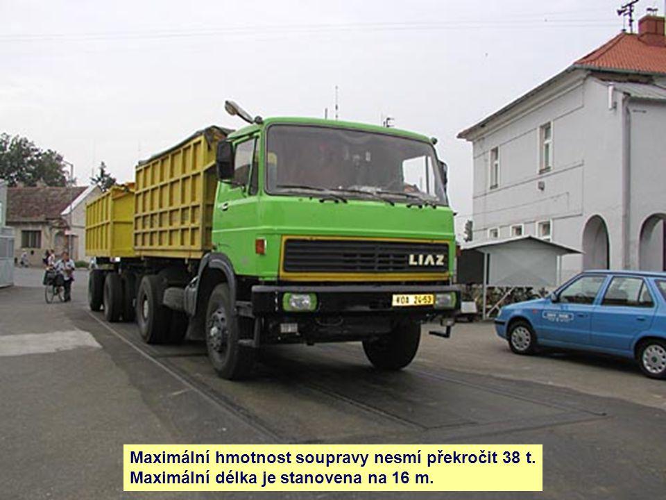 Maximální hmotnost soupravy nesmí překročit 38 t. Maximální délka je stanovena na 16 m.