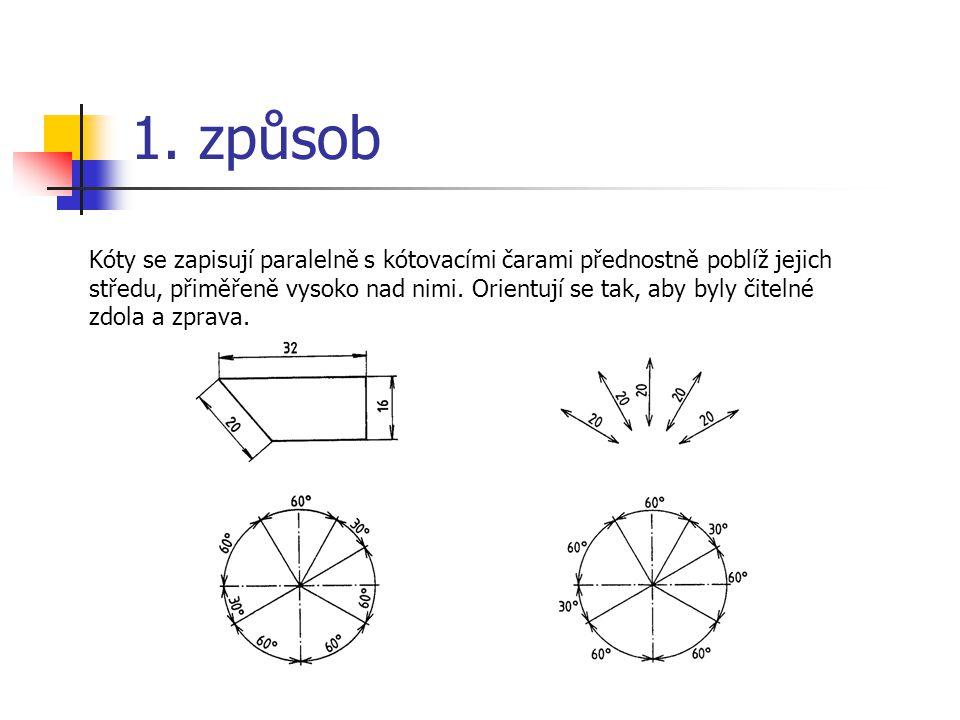 1. způsob Kóty se zapisují paralelně s kótovacími čarami přednostně poblíž jejich středu, přiměřeně vysoko nad nimi. Orientují se tak, aby byly čiteln