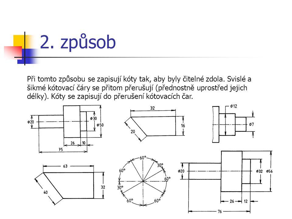 2.způsob Při tomto způsobu se zapisují kóty tak, aby byly čitelné zdola.