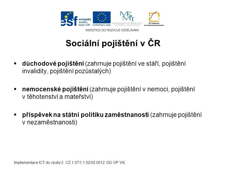 Sociální pojištění v ČR  důchodové pojištění (zahrnuje pojištění ve stáří, pojištění invalidity, pojištění pozůstalých)  nemocenské pojištění (zahrnuje pojištění v nemoci, pojištění v těhotenství a mateřství)  příspěvek na státní politiku zaměstnanosti (zahrnuje pojištění v nezaměstnanosti) Implementace ICT do výuky č.