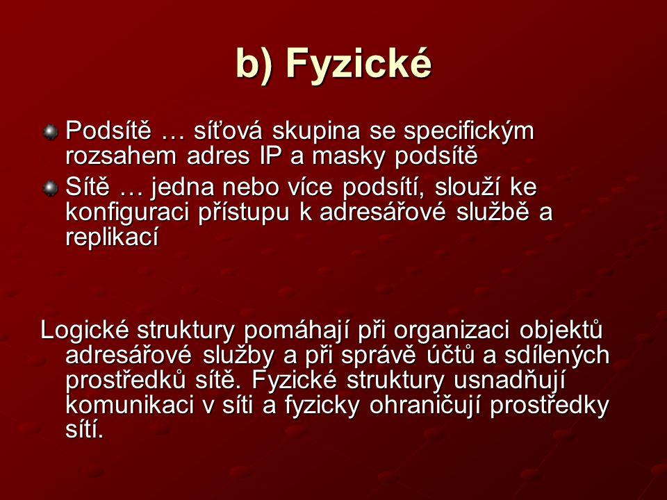 b) Fyzické Podsítě … síťová skupina se specifickým rozsahem adres IP a masky podsítě Sítě … jedna nebo více podsítí, slouží ke konfiguraci přístupu k