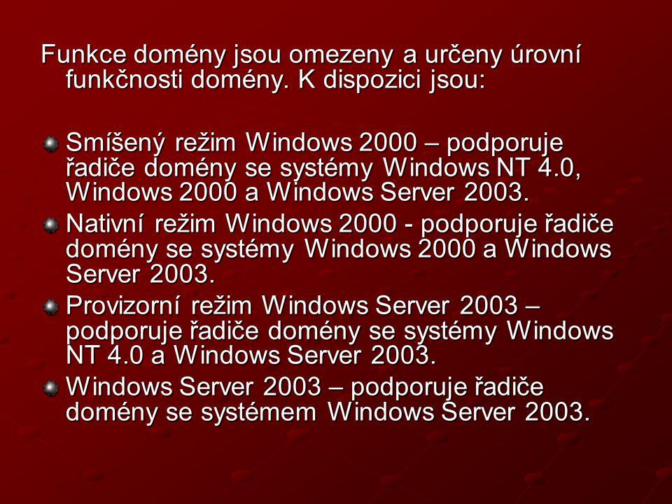 Funkce domény jsou omezeny a určeny úrovní funkčnosti domény. K dispozici jsou: Smíšený režim Windows 2000 – podporuje řadiče domény se systémy Window