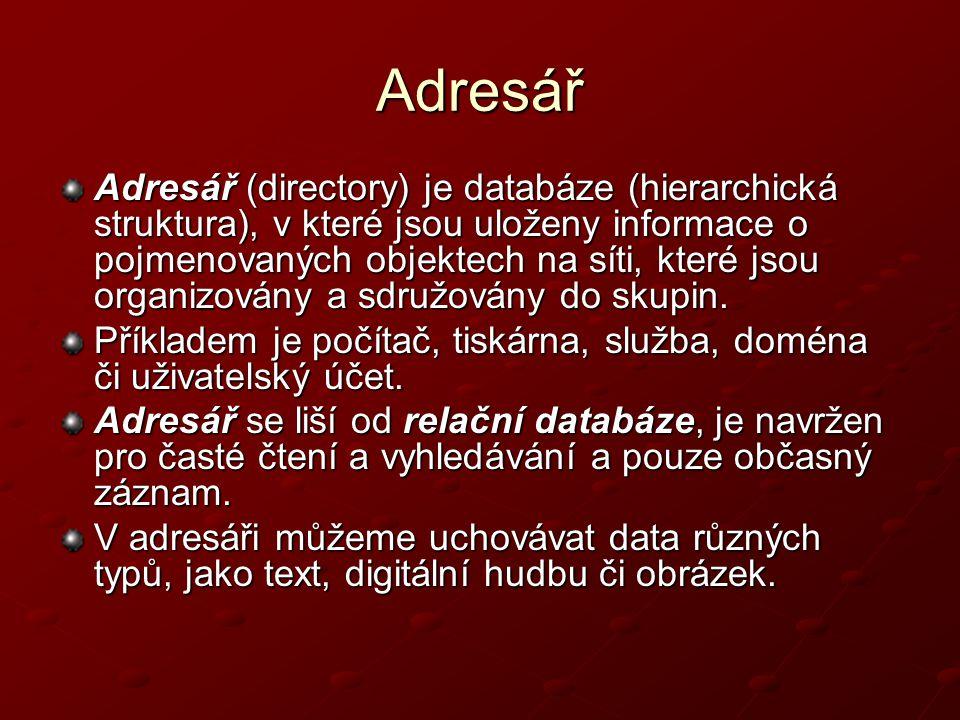 Adresář Adresář (directory) je databáze (hierarchická struktura), v které jsou uloženy informace o pojmenovaných objektech na síti, které jsou organiz