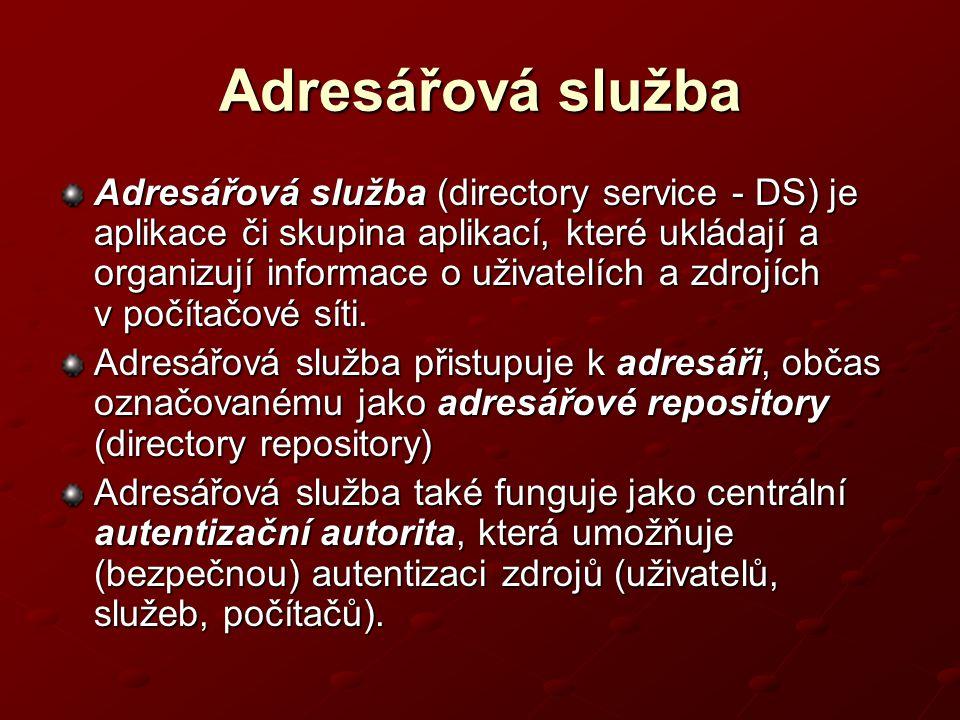 Adresářová služba Adresářová služba (directory service - DS) je aplikace či skupina aplikací, které ukládají a organizují informace o uživatelích a zd