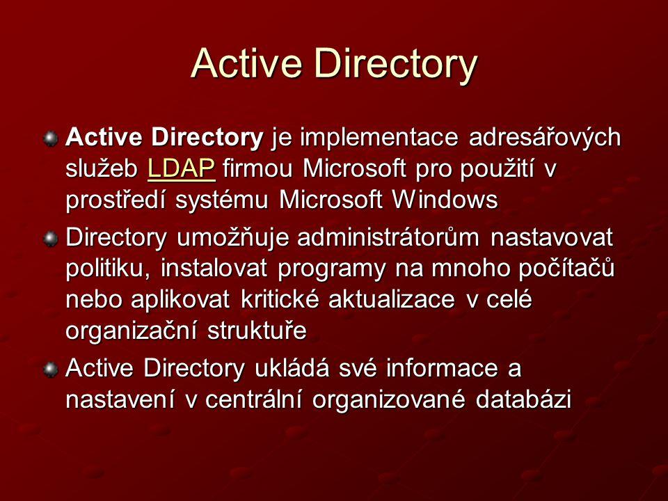 Active Directory Active Directory je implementace adresářových služeb LDAP firmou Microsoft pro použití v prostředí systému Microsoft Windows LDAP Dir