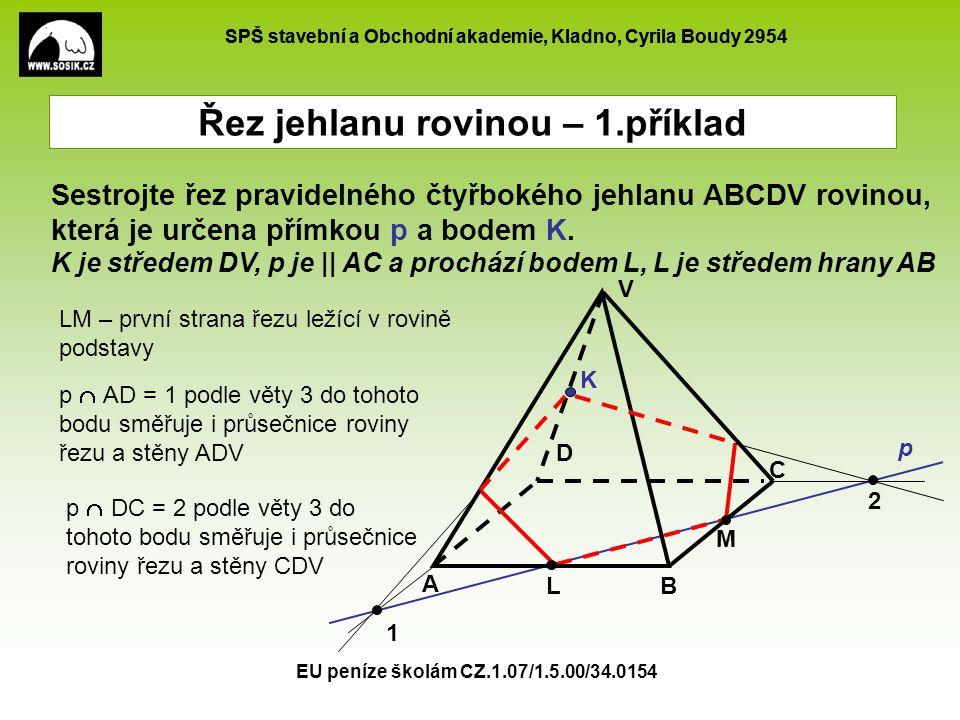 SPŠ stavební a Obchodní akademie, Kladno, Cyrila Boudy 2954 EU peníze školám CZ.1.07/1.5.00/34.0154 M Řez jehlanu rovinou – 1.příklad A B C D V L p K