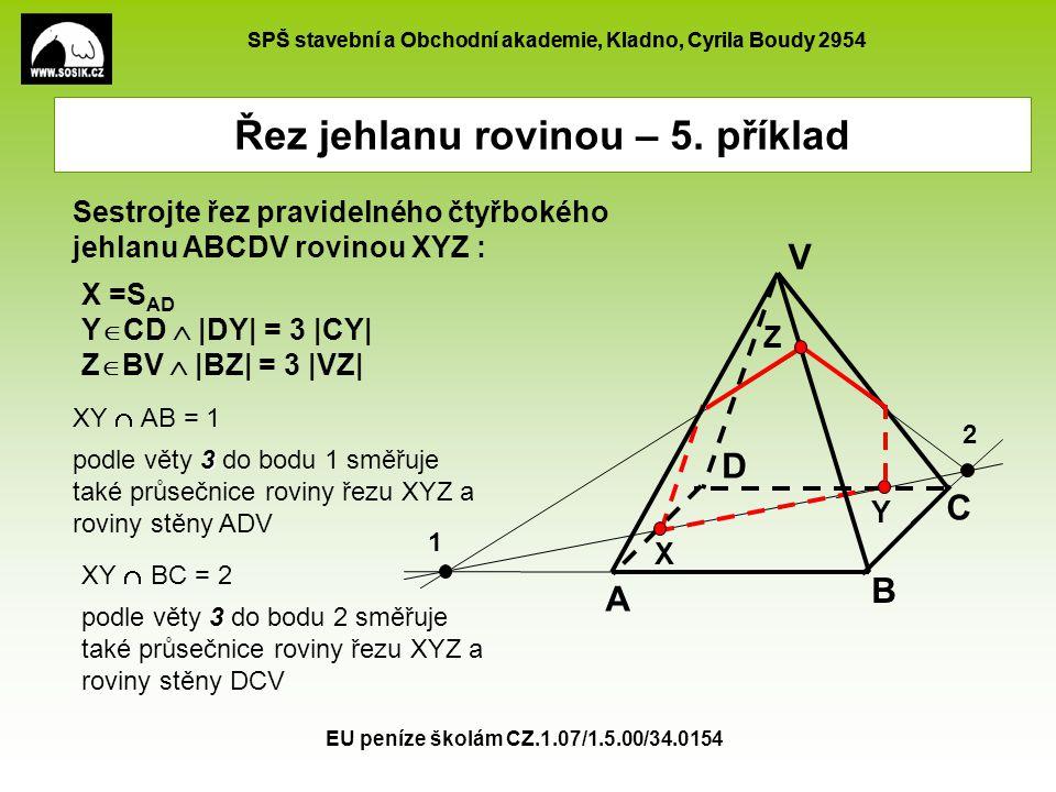 SPŠ stavební a Obchodní akademie, Kladno, Cyrila Boudy 2954 EU peníze školám CZ.1.07/1.5.00/34.0154 Řez jehlanu rovinou – 5. příklad X =S AD Y  CD 