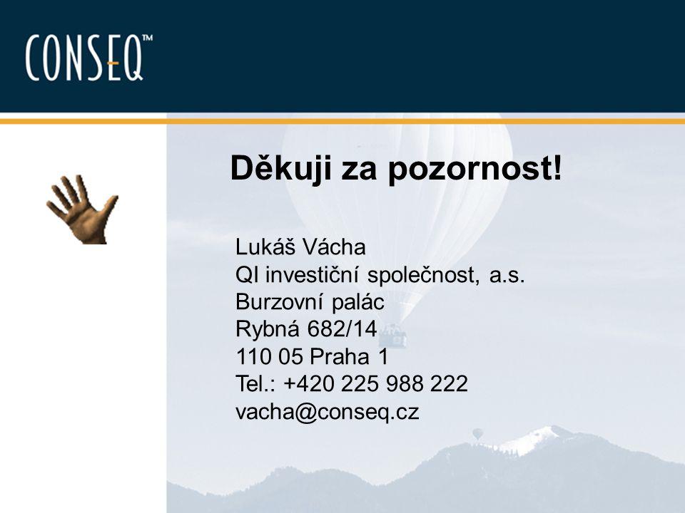 Děkuji za pozornost! Lukáš Vácha QI investiční společnost, a.s. Burzovní palác Rybná 682/14 110 05 Praha 1 Tel.: +420 225 988 222 vacha@conseq.cz