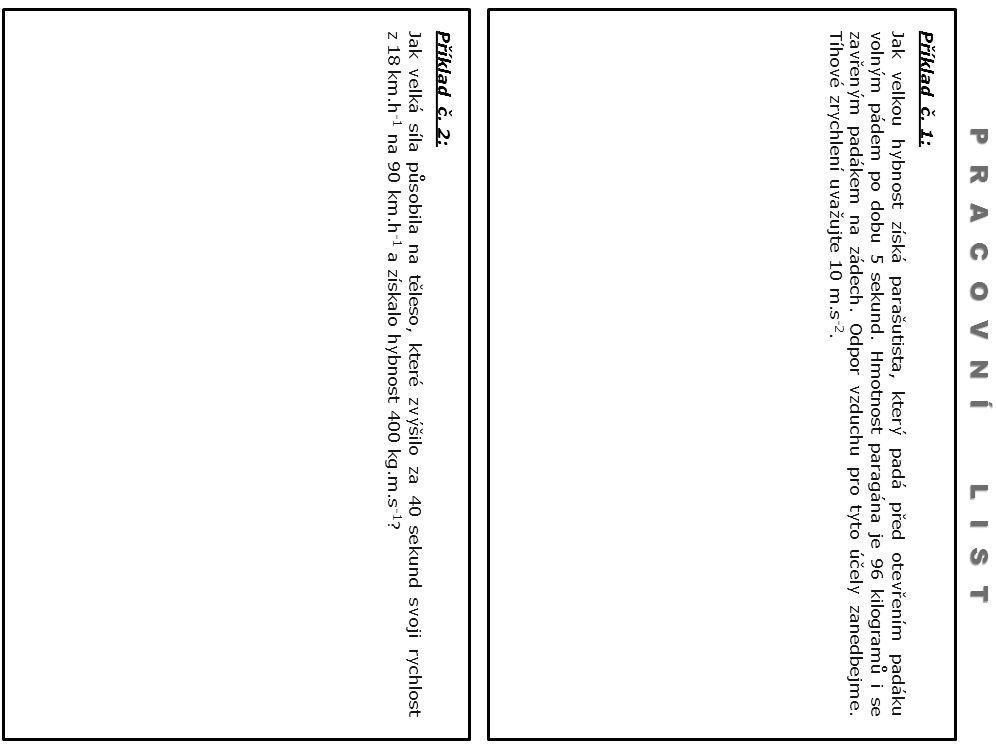 Příklad č. 1: Jak velkou hybnost získá parašutista, který padá před otevřením padáku volným pádem po dobu 5 sekund. Hmotnost paragána je 96 kilogramů