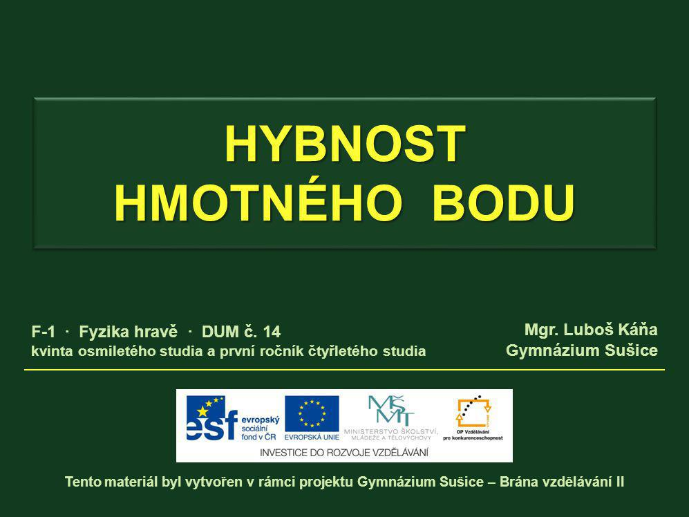 HYBNOST HMOTNÉHO BODU Vytvořeno v rámci projektu Gymnázium Sušice - Brána vzdělávání II Autor: Mgr.