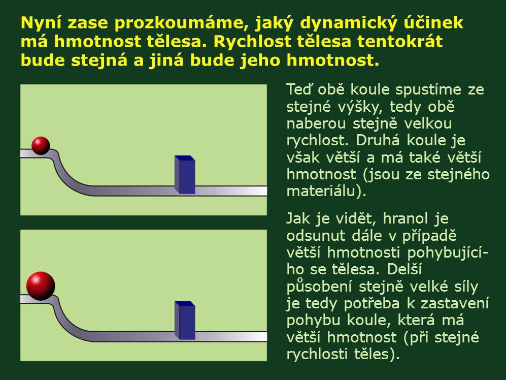 Na předchozích pokusech jsme viděli, že dynamické účinky pohybu těles jsou závislé (přímou úměrou) na jejich rychlosti a také na jejich hmotnosti.