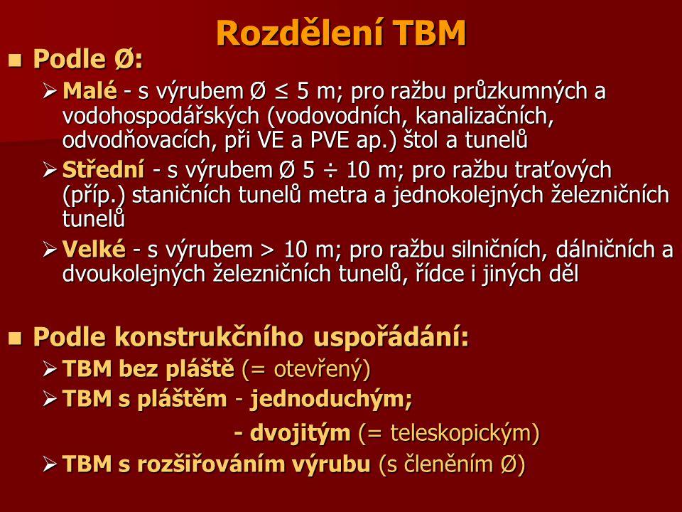 Rozdělení TBM Podle Ø: Podle Ø:  Malé - s výrubem Ø ≤ 5 m; pro ražbu průzkumných a vodohospodářských (vodovodních, kanalizačních, odvodňovacích, při VE a PVE ap.) štol a tunelů  Střední - s výrubem Ø 5 ÷ 10 m; pro ražbu traťových (příp.) staničních tunelů metra a jednokolejných železničních tunelů  Velké - s výrubem > 10 m; pro ražbu silničních, dálničních a dvoukolejných železničních tunelů, řídce i jiných děl Podle konstrukčního uspořádání: Podle konstrukčního uspořádání:  TBM bez pláště (= otevřený)  TBM s pláštěm - jednoduchým; - dvojitým (= teleskopickým) - dvojitým (= teleskopickým)  TBM s rozšiřováním výrubu (s členěním Ø)
