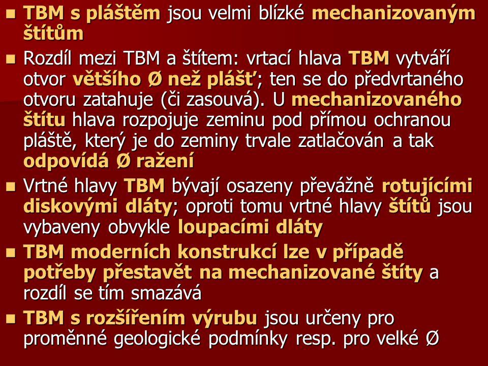 TBM s pláštěm jsou velmi blízké mechanizovaným štítům TBM s pláštěm jsou velmi blízké mechanizovaným štítům Rozdíl mezi TBM a štítem: vrtací hlava TBM vytváří otvor většího Ø než plášť; ten se do předvrtaného otvoru zatahuje (či zasouvá).