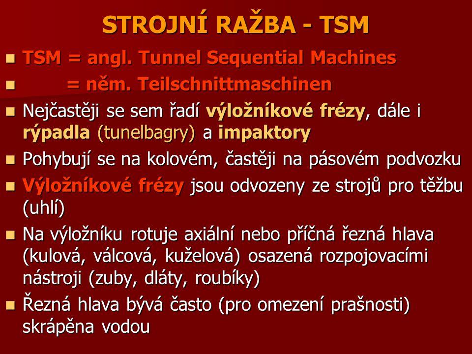 STROJNÍ RAŽBA - TSM TSM = angl.Tunnel Sequential Machines TSM = angl.