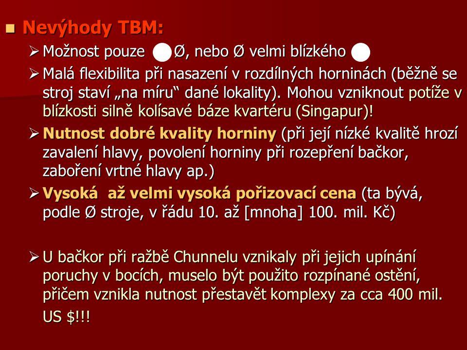 """Nevýhody TBM: Nevýhody TBM:  Možnost pouze Ø, nebo Ø velmi blízkého  Malá flexibilita při nasazení v rozdílných horninách (běžně se stroj staví """"na míru dané lokality)."""