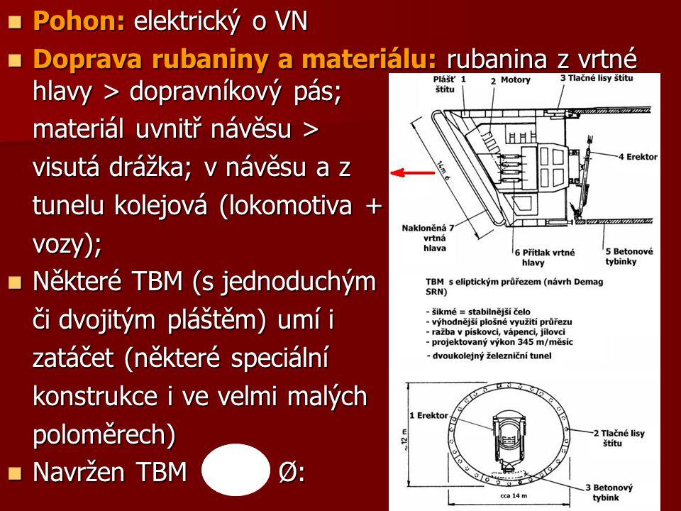 Pohon: elektrický o VN Pohon: elektrický o VN Doprava rubaniny a materiálu: rubanina z vrtné hlavy > dopravníkový pás; Doprava rubaniny a materiálu: rubanina z vrtné hlavy > dopravníkový pás; materiál uvnitř návěsu > visutá drážka; v návěsu a z tunelu kolejová (lokomotiva + vozy); Některé TBM (s jednoduchým Některé TBM (s jednoduchým či dvojitým pláštěm) umí i zatáčet (některé speciální konstrukce i ve velmi malých poloměrech) Navržen TBM Ø: Navržen TBM Ø: