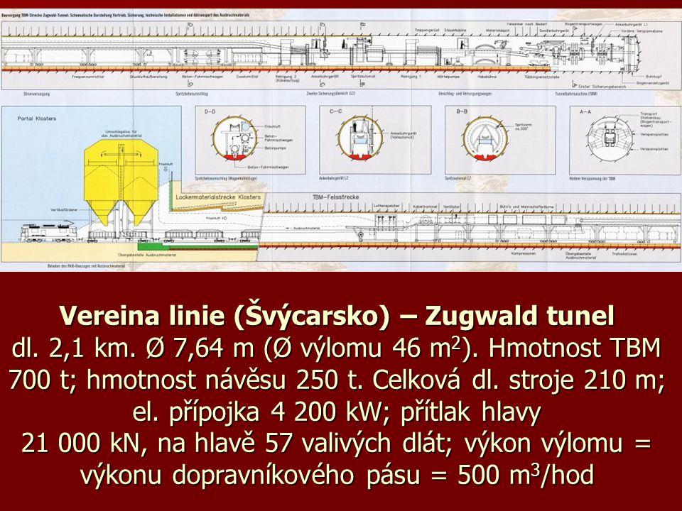 Vereina linie (Švýcarsko) – Zugwald tunel dl. 2,1 km. Ø 7,64 m (Ø výlomu 46 m 2 ). Hmotnost TBM 700 t; hmotnost návěsu 250 t. Celková dl. stroje 210 m