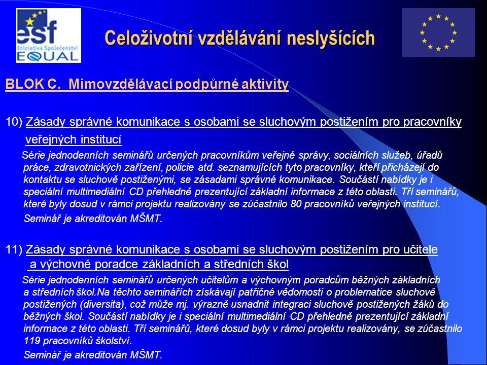 Celoživotní vzdělávání neslyšících BLOK C. Mimovzdělávací podpůrné aktivity 10) Zásady správné komunikace s osobami se sluchovým postižením pro pracov