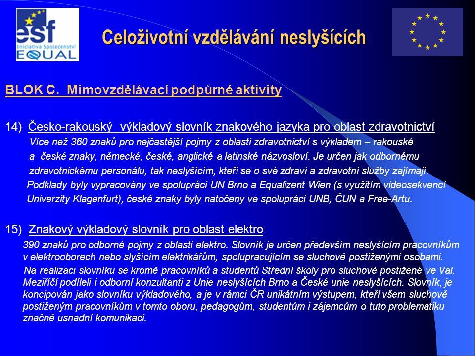 Celoživotní vzdělávání neslyšících BLOK C. Mimovzdělávací podpůrné aktivity 14) Česko-rakouský výkladový slovník znakového jazyka pro oblast zdravotni