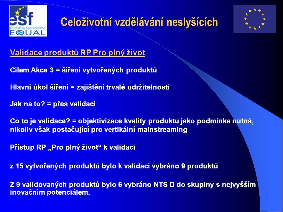 Celoživotní vzdělávání neslyšících Validace produktů RP Pro plný život Cílem Akce 3 = šíření vytvořených produktů Hlavní úkol šíření = zajištění trval