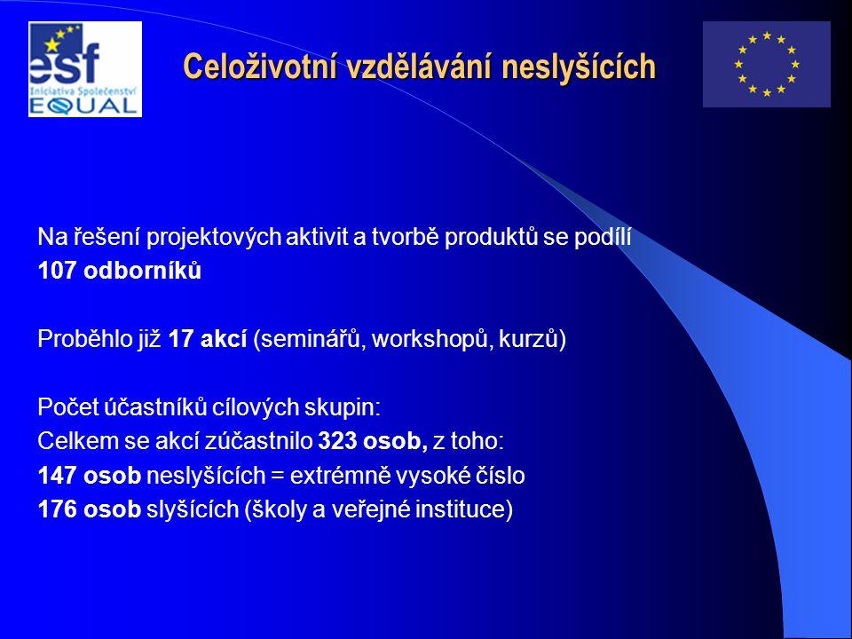 Celoživotní vzdělávání neslyšících Na řešení projektových aktivit a tvorbě produktů se podílí 107 odborníků Proběhlo již 17 akcí (seminářů, workshopů, kurzů) Počet účastníků cílových skupin: Celkem se akcí zúčastnilo 323 osob, z toho: 147 osob neslyšících = extrémně vysoké číslo 176 osob slyšících (školy a veřejné instituce)