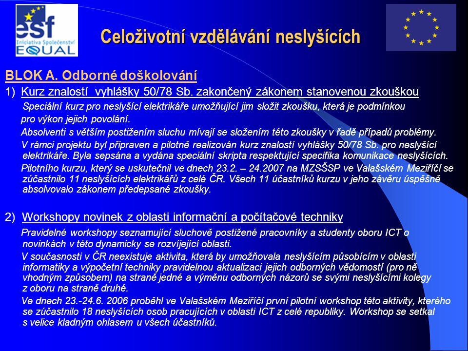 Celoživotní vzdělávání neslyšících BLOK A. Odborné doškolování 1) Kurz znalostí vyhlášky 50/78 Sb. zakončený zákonem stanovenou zkouškou Speciální kur