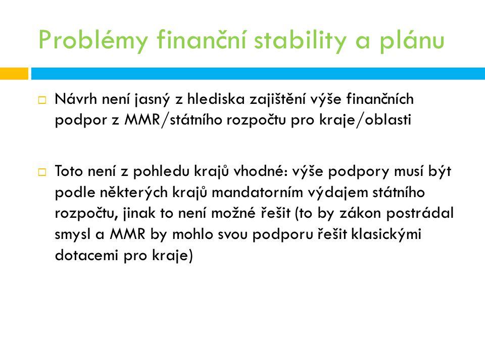Problémy finanční stability a plánu  Návrh není jasný z hlediska zajištění výše finančních podpor z MMR/státního rozpočtu pro kraje/oblasti  Toto ne
