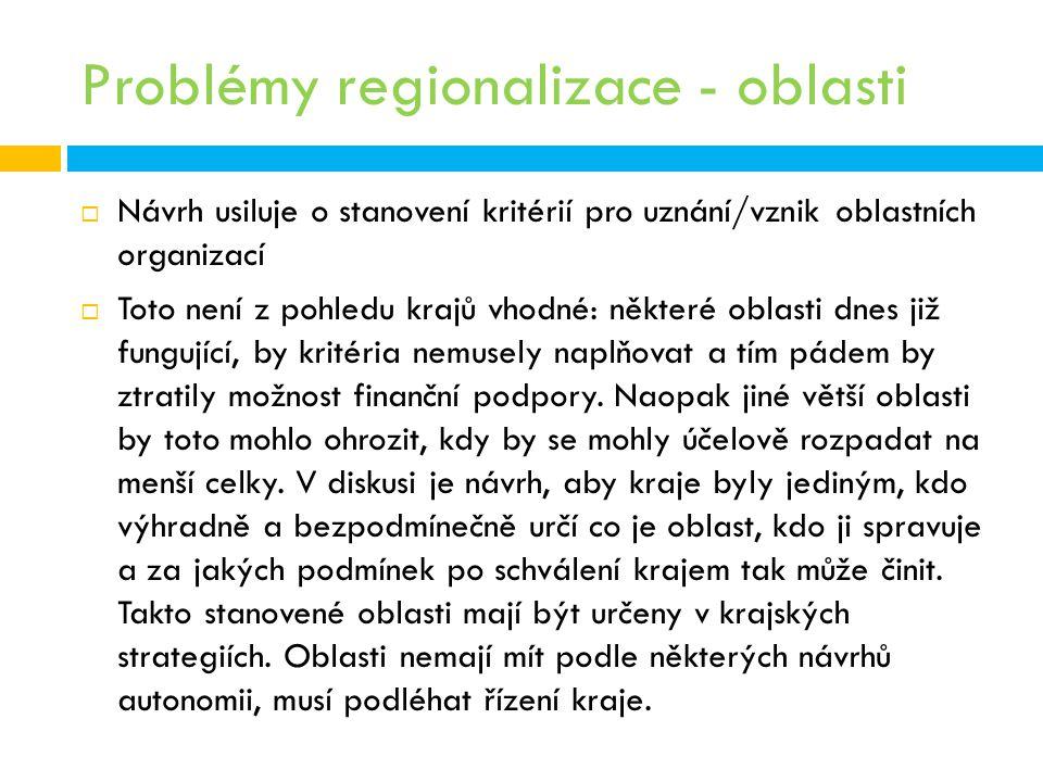 Problémy regionalizace - oblasti  Návrh usiluje o stanovení kritérií pro uznání/vznik oblastních organizací  Toto není z pohledu krajů vhodné: někte