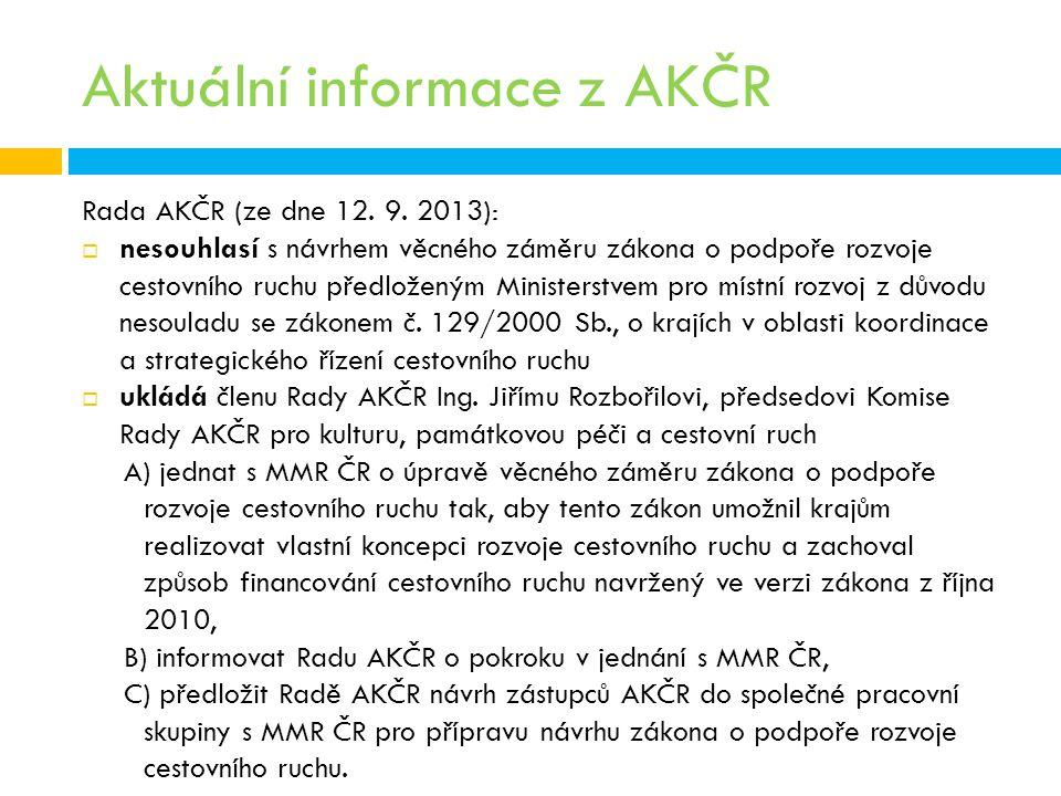 Aktuální informace z AKČR Rada AKČR (ze dne 12. 9. 2013):  nesouhlasí s návrhem věcného záměru zákona o podpoře rozvoje cestovního ruchu předloženým