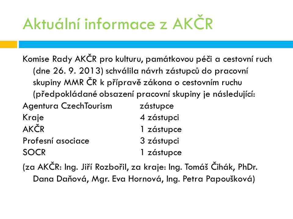 Aktuální informace z AKČR Komise Rady AKČR pro kulturu, památkovou péči a cestovní ruch (dne 26. 9. 2013) schválila návrh zástupců do pracovní skupiny