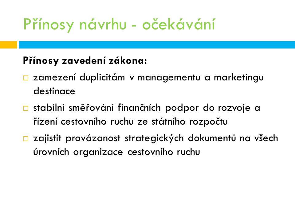 Přínosy návrhu - očekávání Přínosy zavedení zákona:  zamezení duplicitám v managementu a marketingu destinace  stabilní směřování finančních podpor