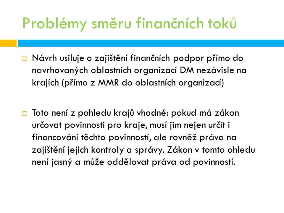 Problémy směru finančních toků  Návrh usiluje o zajištění finančních podpor přímo do navrhovaných oblastních organizací DM nezávisle na krajích (přím