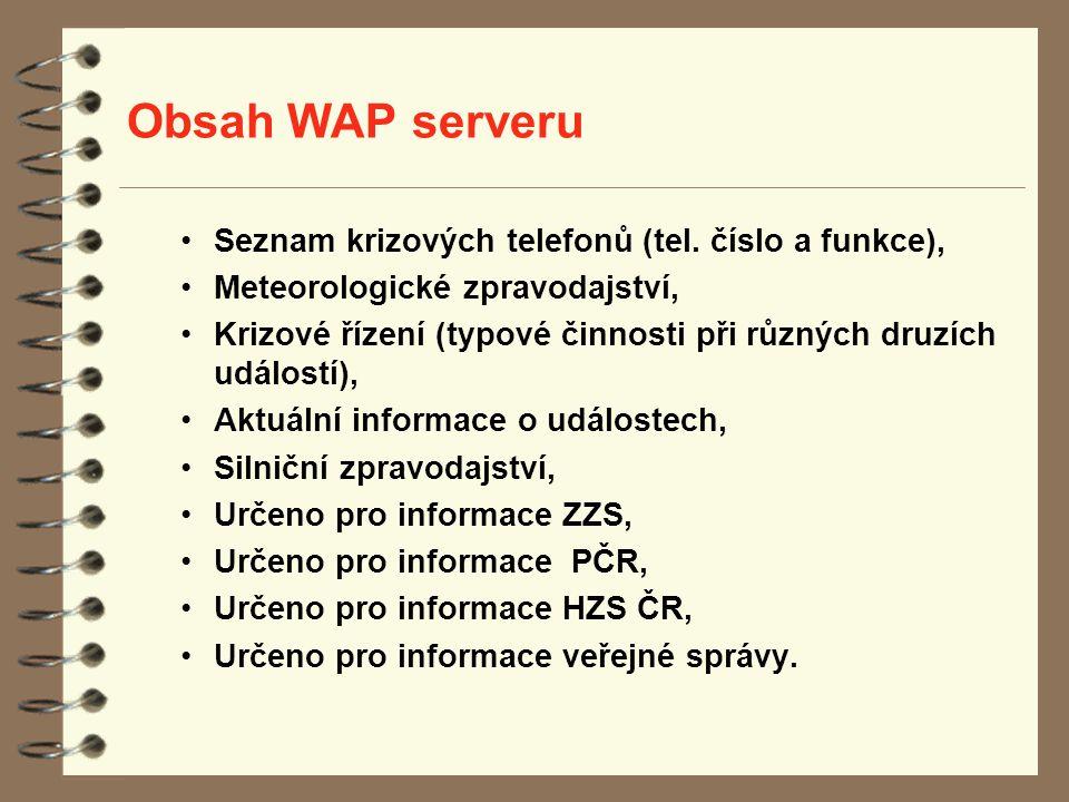 Obsah WAP serveru Seznam krizových telefonů (tel. číslo a funkce), Meteorologické zpravodajství, Krizové řízení (typové činnosti při různých druzích u